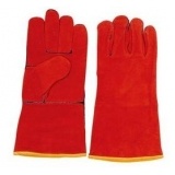 WG-E01 Series, Split Cowhide Leather Welding Gloves, Red, Cotton Lining