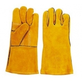WG-E01, Split Cowhide Leather Welding Gloves, Golden, Cotton Lining