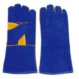 WG-E01, Split Cowhide Leather Welding Gloves, Blue, Cotton Lining