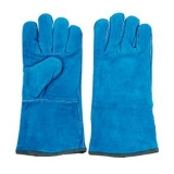 WG-E01, Split Cowhide Leather Welding Gloves,Sky Blue, Cotton Lining