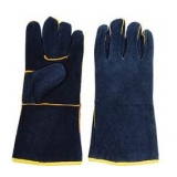 WG-E01, Split Cowhide Leather Welding Gloves,Dark Blue, Cotton Lining