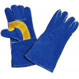 BT-5028 Series, Cow Split Leather Welding Gloves, Blue, Cotton Lining