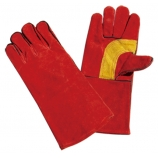 BT-502, Split Cowhide Leather Welding Gloves, Red, Cotton Lining