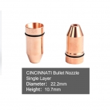 CINCINNATI Bullet Laser Nozzle Single/Double Layer Dia 22.2mm Height 10.7mm Caliber 0.8 - 4.0mm